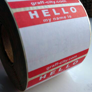 HELLO MY NAME IS STICKERS – RED/WHITE