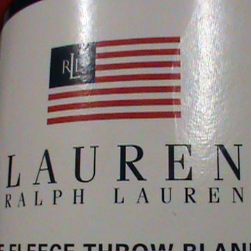 Ralph Lauren Fleece Blanket with Flag – Cream label