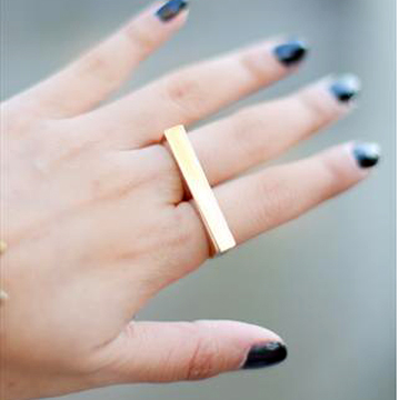 Gold Simple  2 Fingers Ring back