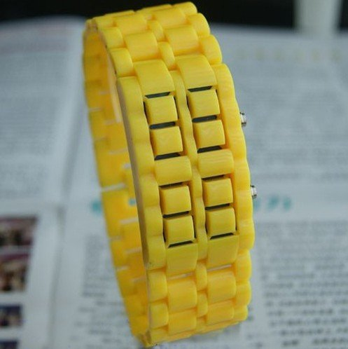 Wrist Watch Yellow LED Bracelet back
