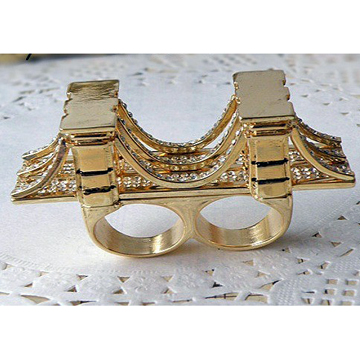 Brooklyn Bridge Double fingers gold ring label