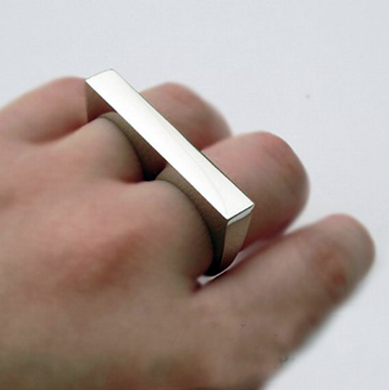 Silver Simple  2 Fingers Ring back
