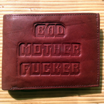 PULP FICTION ; BAD MOTHER FxxKER LEATHER WALLET BROWN