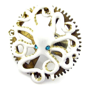 VINTAGE WHITE OCTOPUS RING