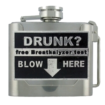 Drunk? Blow Here Belt Buckle front