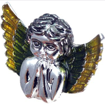 Praying Angel Wing Baby Green & Yellow Silver  Ring back