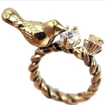 Sparrow Bird Pink Flower Star Gold Ring Size 7.5 label