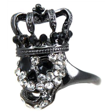 Skull Crown Silver Ring back
