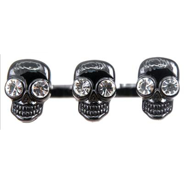 Black Skull Two Finger Ring front