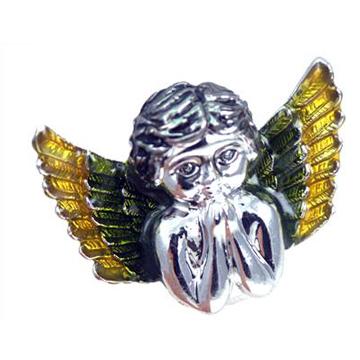Praying Angel Wing Baby Green & Yellow Silver  Ring label