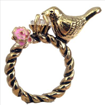 Sparrow Bird Pink Flower Star Gold Ring Size 7.5 back