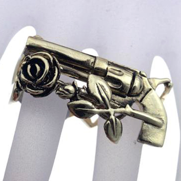 Gun Rose Leaf & Star Double Finger Gold Ring label