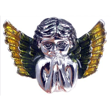 Praying Angel Wing Baby Green & Yellow Silver  Ring