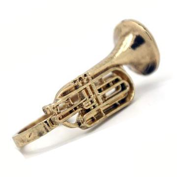 Trumpet Gold Double Ring<br />トランペット型2連指輪・金 label