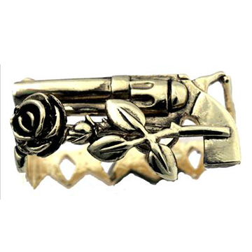Gun Rose Leaf & Star Double Finger Gold Ring