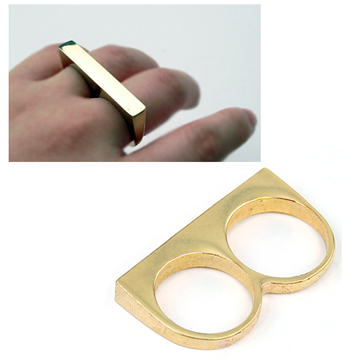 Gold Simple  2 Fingers Ring
