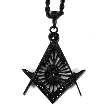FREE MASON PENDANT + 36″ ROPE CHAIN NECKLACE BLACK