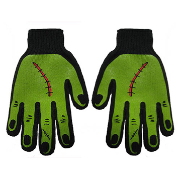 Frankenstein Monster Black Green Mens Work Gloves