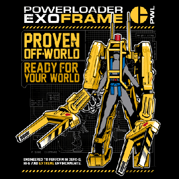 Aliens 2 Powerloader T-Shirt back
