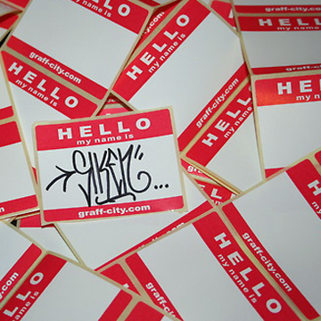 HELLO MY NAME IS STICKERS – RED/WHITE back